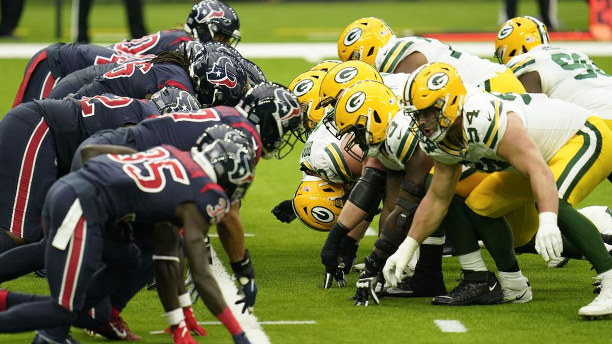 Green Bay Packers line of scrimmage during an NFL football game against the Houston Texans,...
