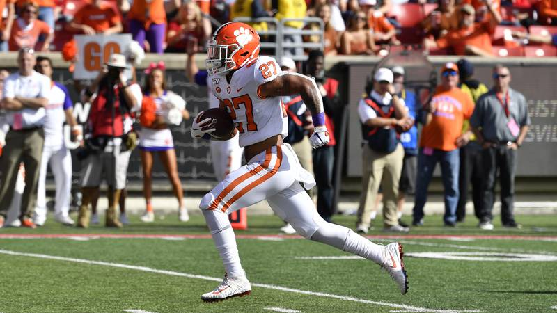 Clemson running back Chez Mellusi (27) in action during the second half of an NCAA college...