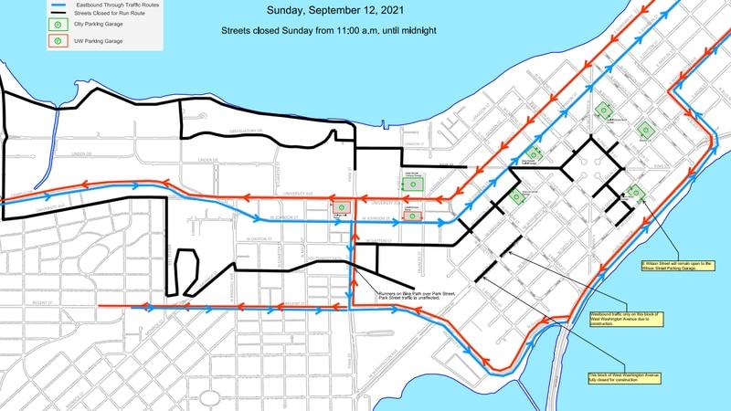 Ironman Triathlon map, City of Madison