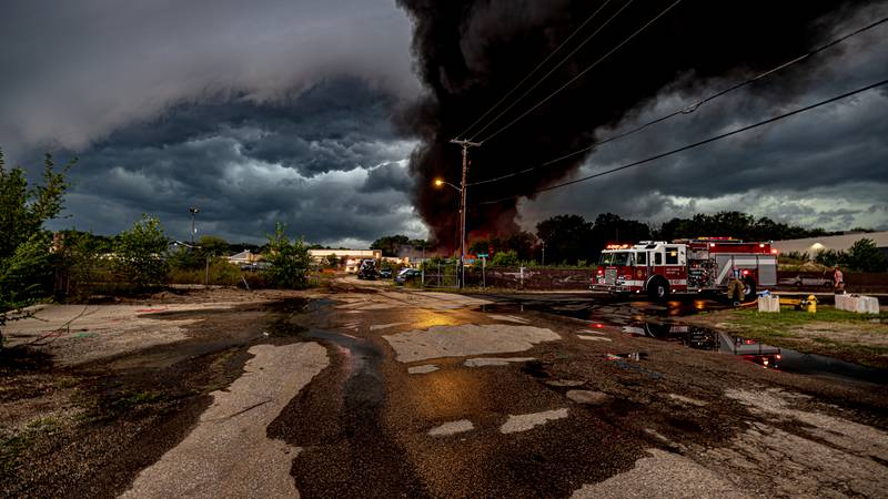 Fort Atkinson fire on Aug. 10 during evening storm