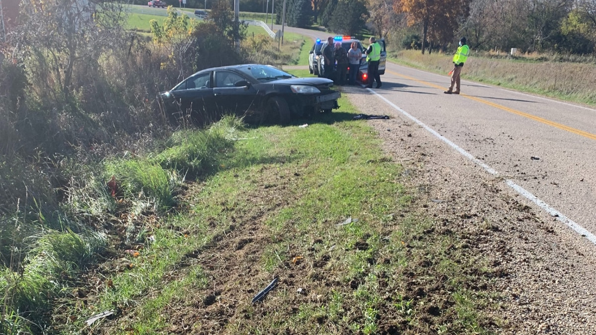 Single-car crash on County Road B, just east of State Highway 73.