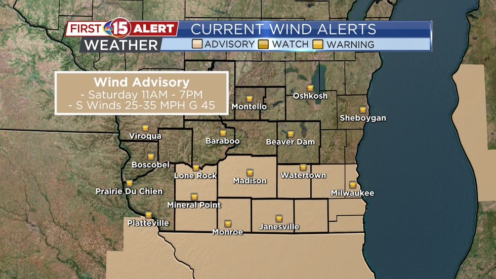 The National Weather Service has issued a Wind Advisory for much of southern Wisconsin. The advisory is in effect Saturday 11 a.m. - 7 p.m.