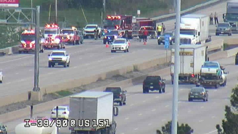 Crash on I-39 northbound at Lien Road.