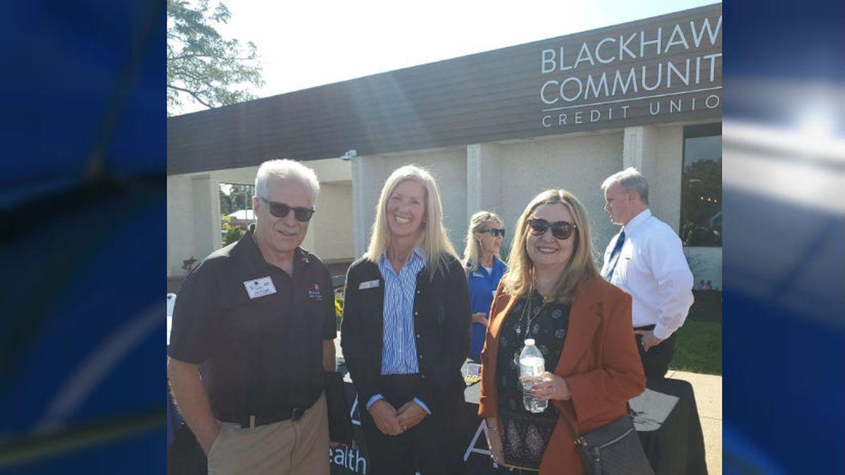 John Cruzan, Milton Area Chamber of Commerce board chair, and BHCCU's Tammy Fanning and Sherri Stumpf celebrate the opening in Milton. Courtesy: Blackhawk Community Credit Union