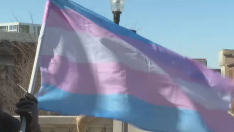 The transgender flag waves outside of the Wisconsin State Capitol.
