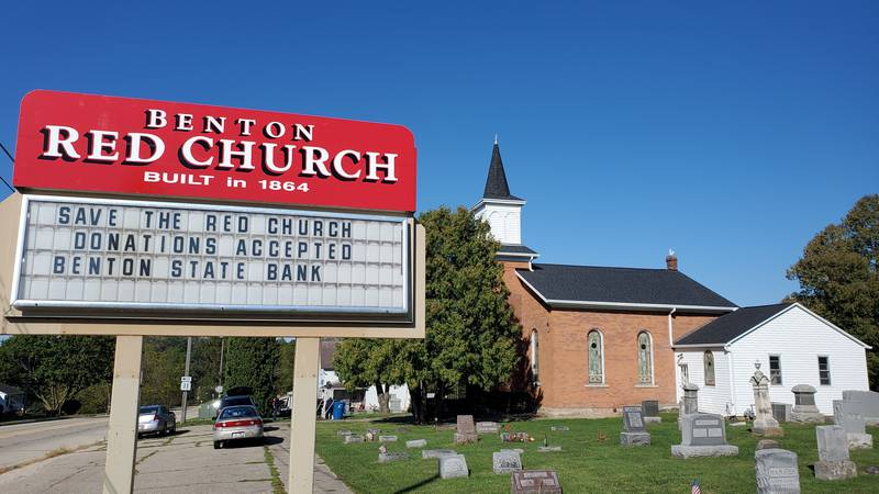 The Benton Red Church sits at the corner of 3rd Avenue and Highway 11