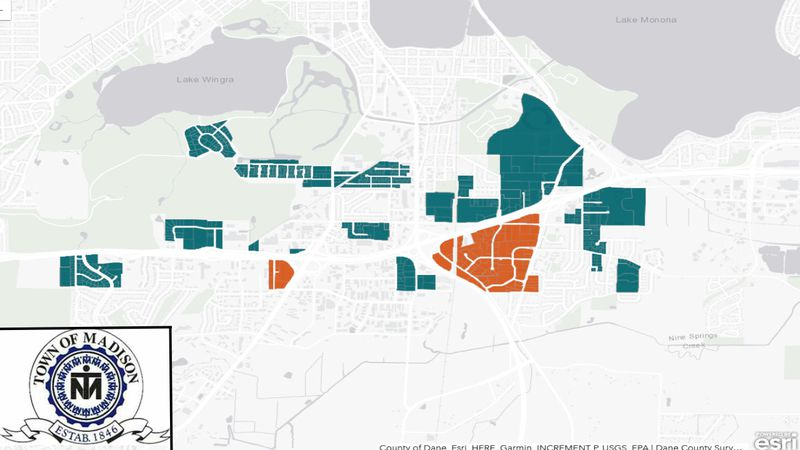 Map showing which sections of the Town of Madison will be absorbed by the Cities of Madison and...