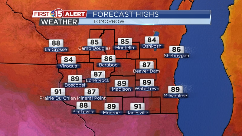 Highs climb into the upper 80s - lower 90s tomorrow.