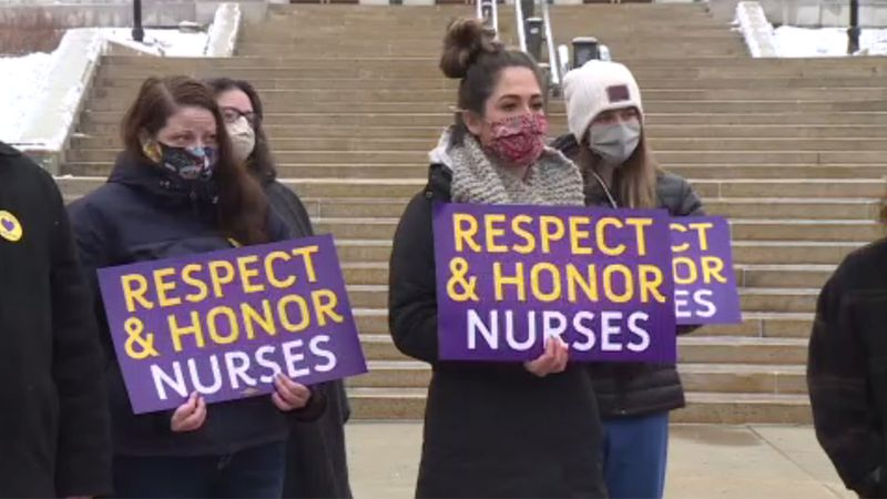 UnityPoint Health - Meriter nurses protest outside the Wisconsin State Capitol, on March 16,...