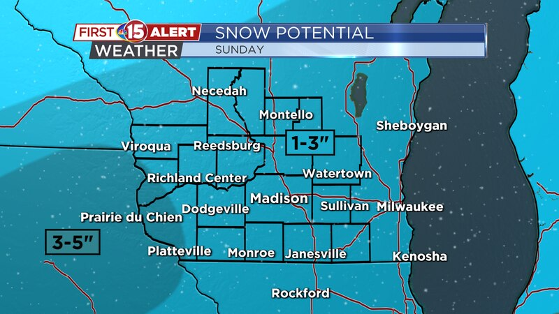 Snow totals of 1-3 inches look likely Sunday. Isolated 4 inch totals can't be ruled out.