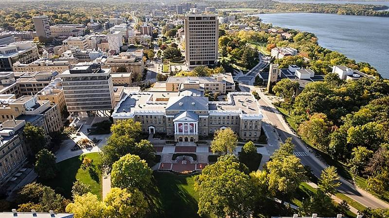 Bascom Hall, Bascom Hill and the central University of Wisconsin-Madison campus are pictured in...