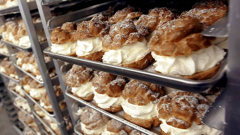 Rows of cream puffs are stored in a giant cooler and ready to be sold at the Wisconsin State...