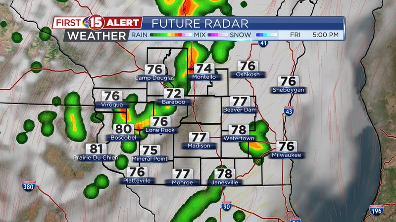 A few scattered showers and storms are expected Friday afternoon/evening.