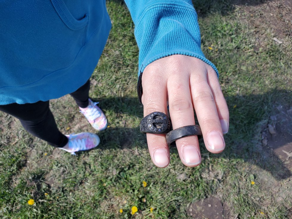 A class ring and a wedding ring belonging to her late husband James were both found in the...