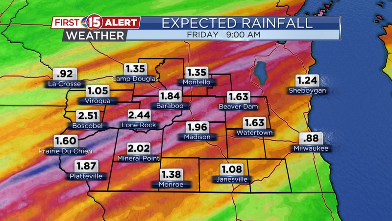 Rainfall totals through Friday morning are expected in the 1 to 3 inch range.