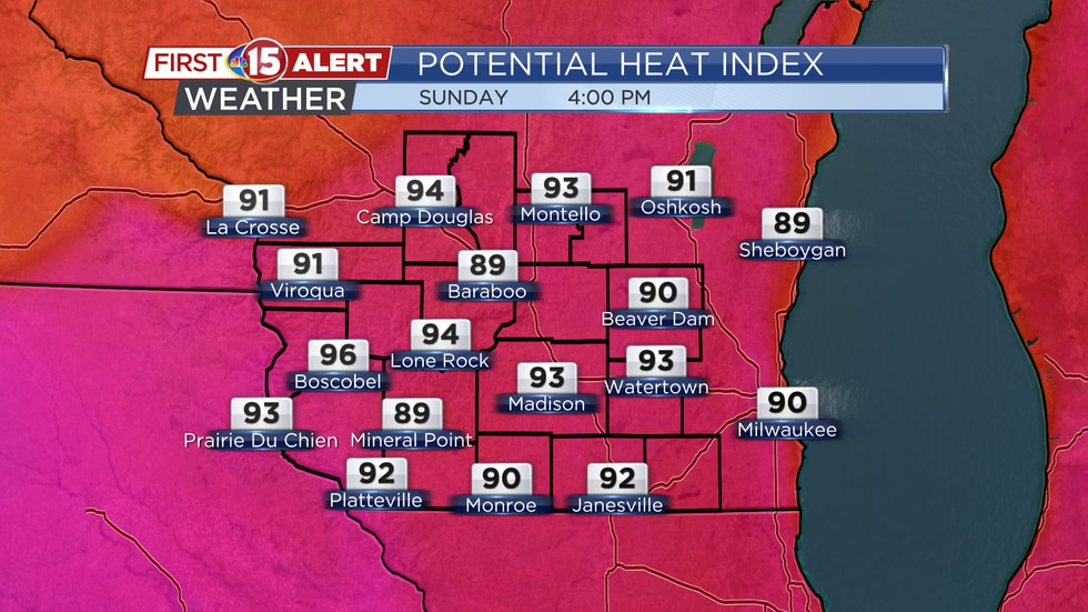 Hot and humid today, highs to top 100