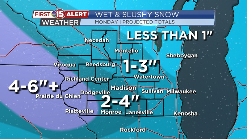 Widespread snowfall is expected in southern Wisconsin Monday. Wet & slushy snow will make...