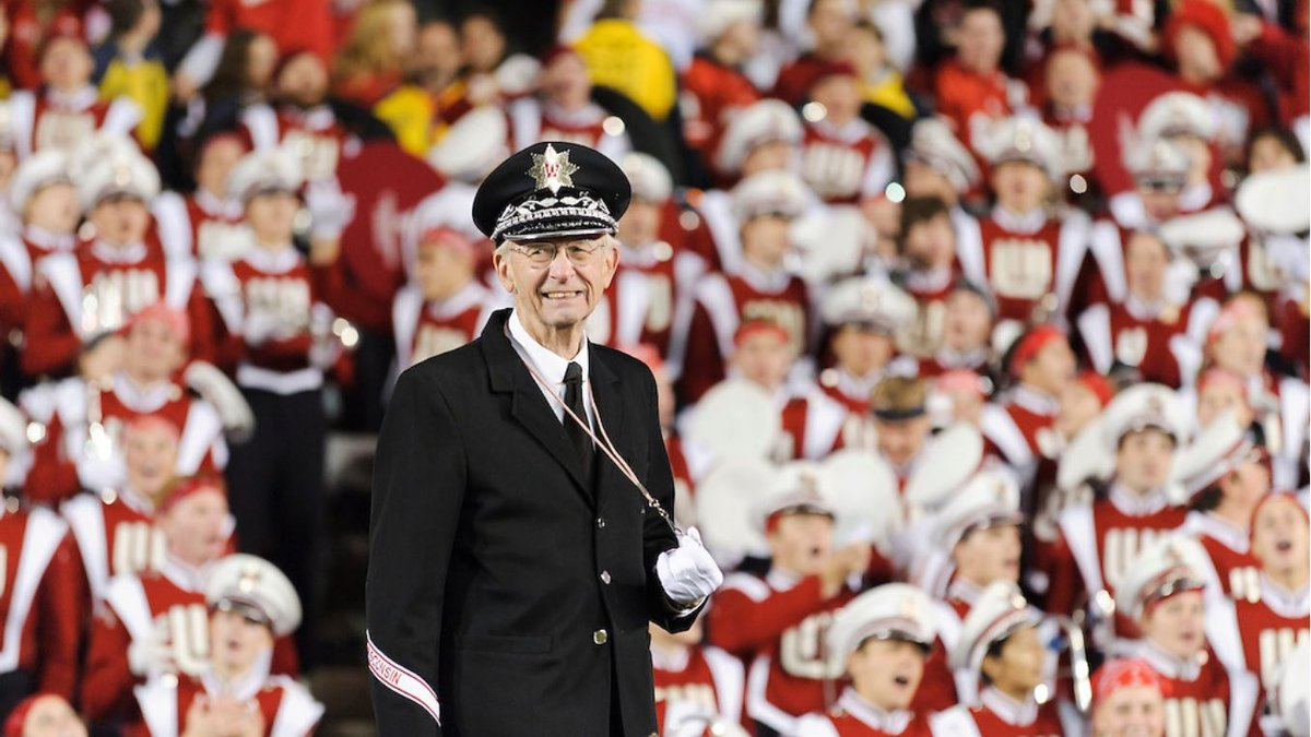 Mike Leckrone and the UW Marching Band at the 2011 Nebraska game at Camp Randall.