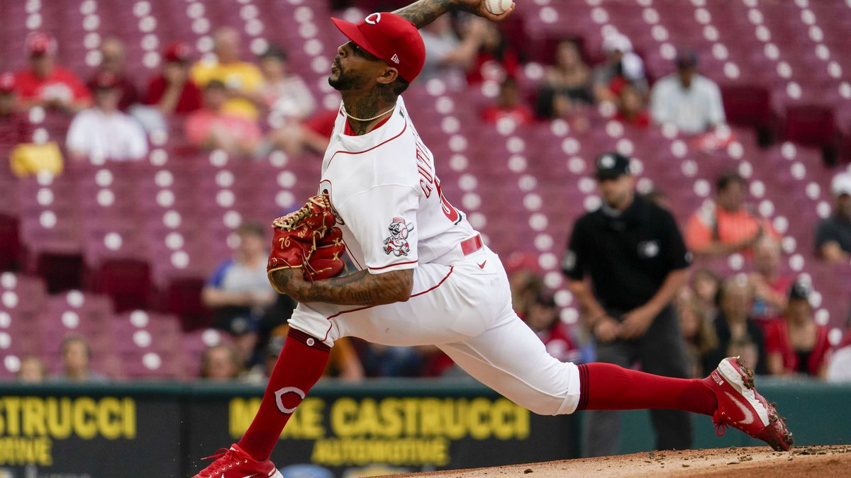 Reds starting pitcher Vladimir Gutierrez throws during the first inning of the team's baseball...