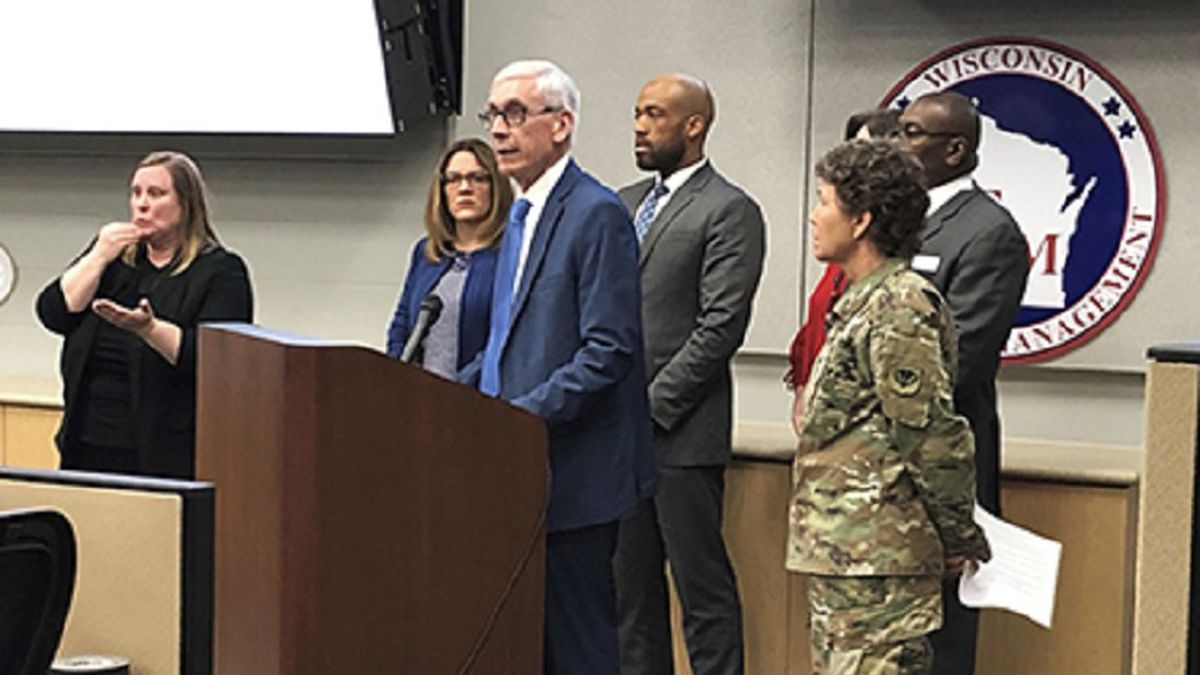 Gov. Tony Evers declares a public health emergency due to COVID-19 March 12 in the State...