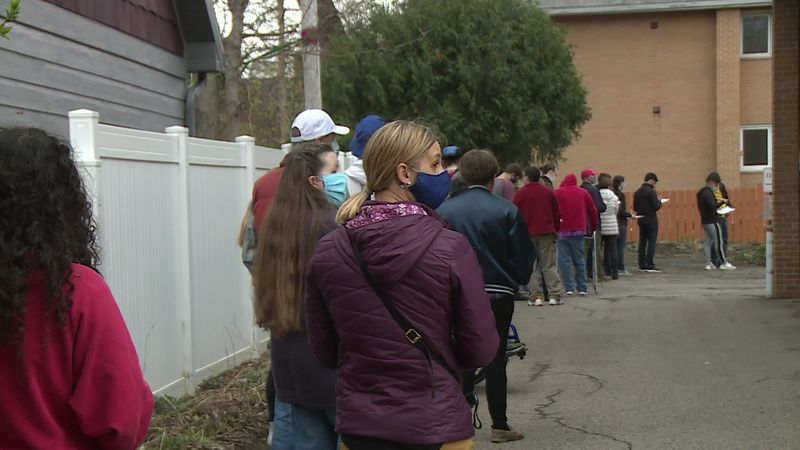A pop-up Covid vaccine clinic had the parking lot at Trinity United Methodist church packed...