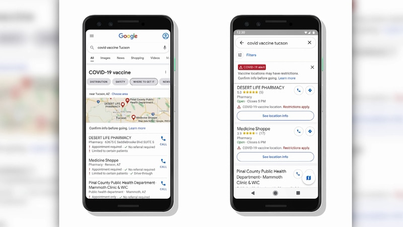 """Google Maps will soon display COVID-19 vaccination sites for people who search """"vaccines near..."""