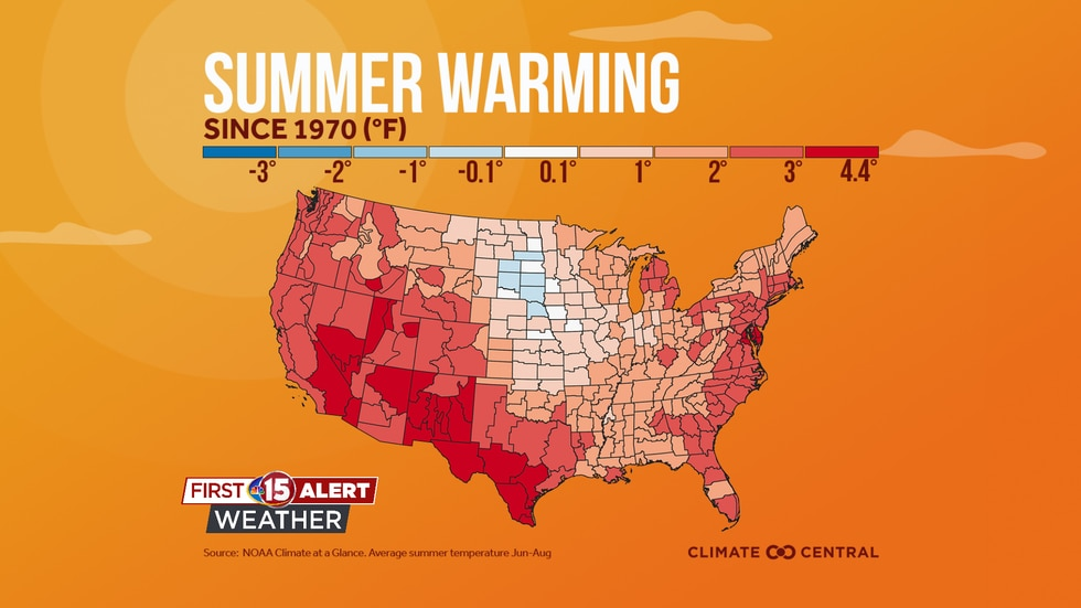 A look at regions of the country and the change in average summer temperature since 1970.