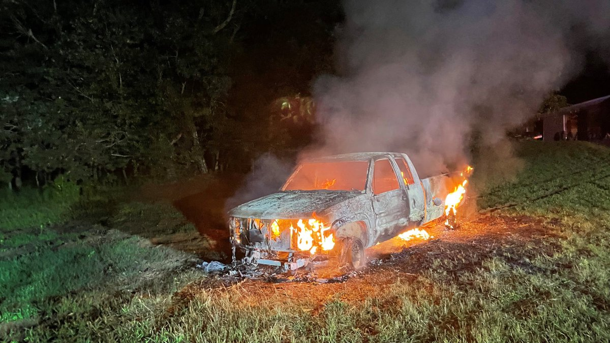 One person is hurt after the truck they were driving caught on fire.