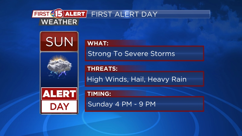 First Alert Day -- Strong storms possible Sunday
