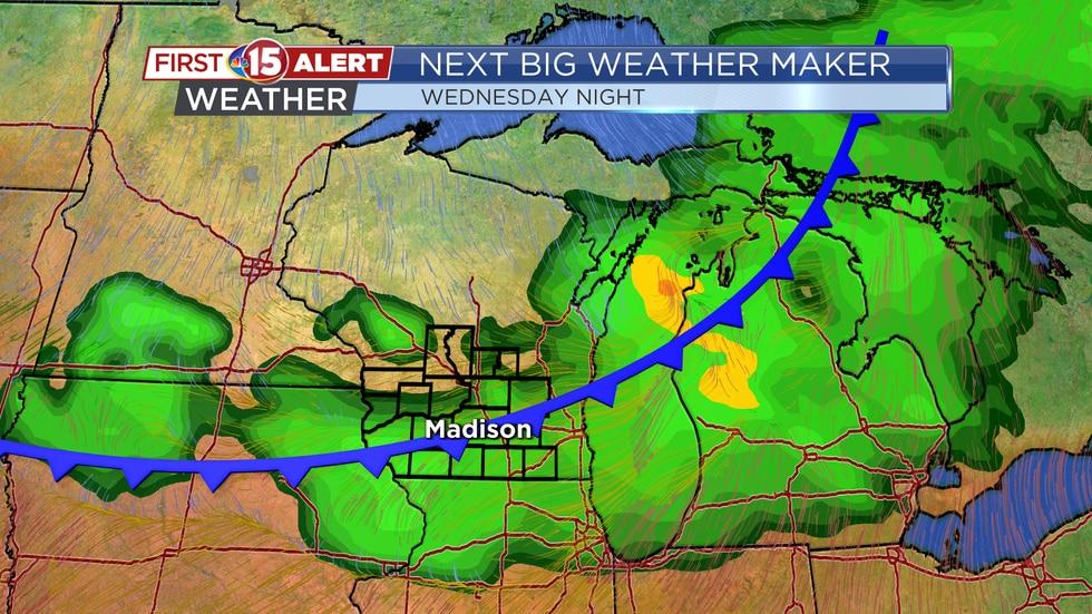 Next Big Weather Maker - Cold front slides through Wednesday night