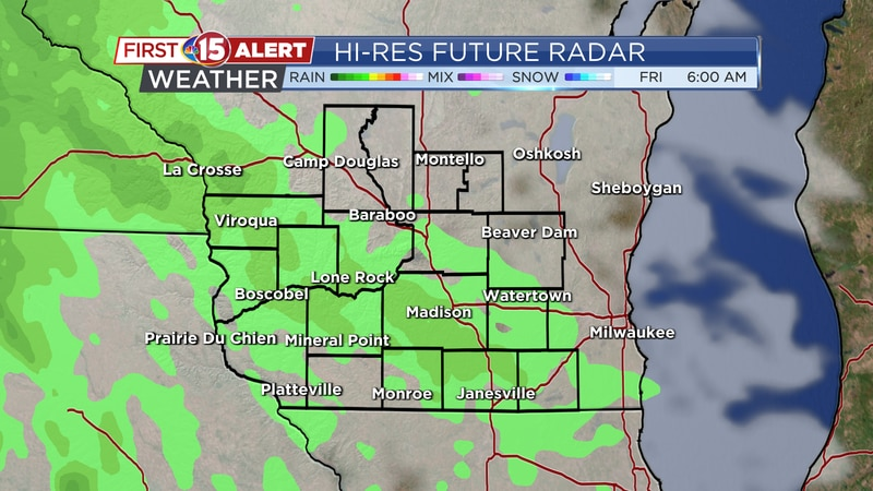 Scattered showers move into southern Wisconsin on Friday.