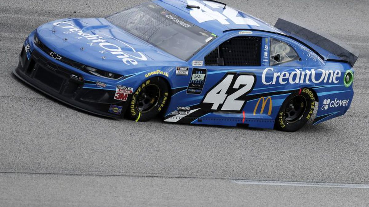 Matt Kenseth (42) drives during the NASCAR Cup Series auto race Sunday, May 17, 2020, in Darlington, S.C. (AP Photo/Brynn Anderson)