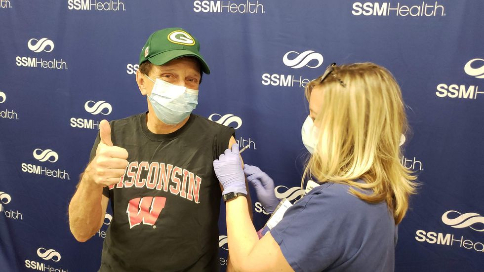 Dr. Zorba Paster, SSM Health Family Medicine Physician, receiving his second dose of the vaccine.