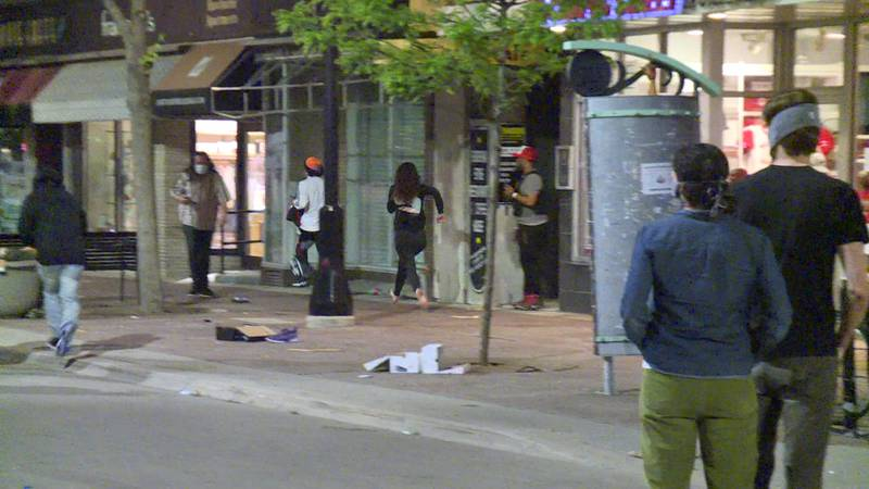 Nondescript photo of State Street amid looting and vandalism in late May