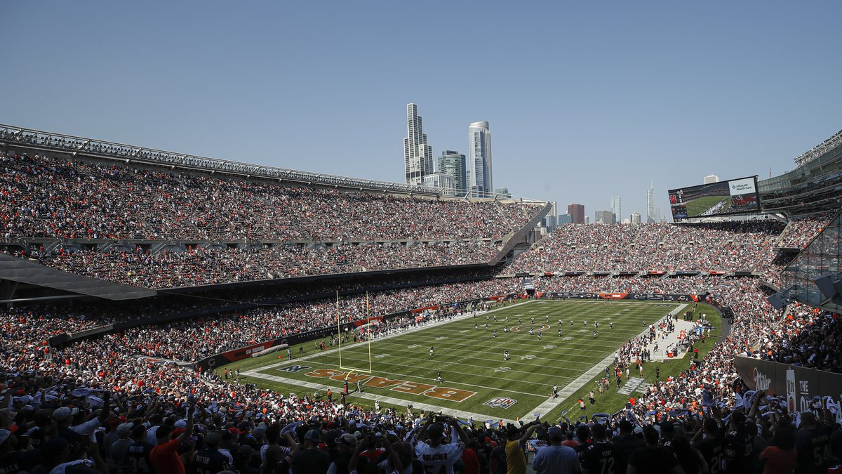 Cincinnati Bengals kick off to the Chicago Bears to start the first half of an NFL football...