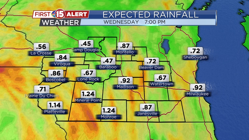 These are the forecast rain total through 7:00 pm Wednesday. Most spots will be in the 0.50 to...
