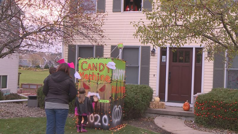 Families got creative to keep trick-or-treating safe, like this Oregon family who built a candy...