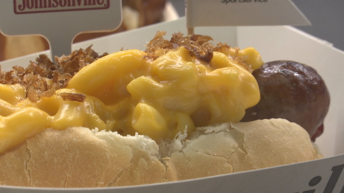 Some of the new Packers gameday concessions include a bratwurst piled high with mac and cheese,...