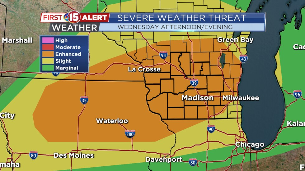 Most of southern Wisconsin has been placed under an Enhanced (Level 3) risk of severe weather.