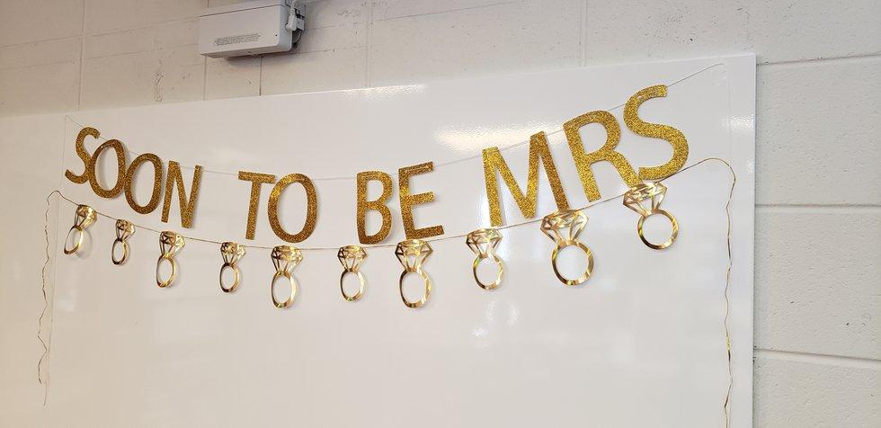 Decorations in Mrs. Amy Blake's kindergarten classroom mark her impending marriage.