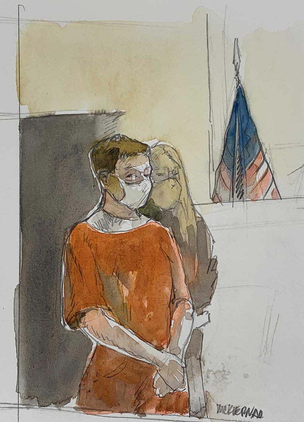 David M. Kruchten enters courtroom Monday.