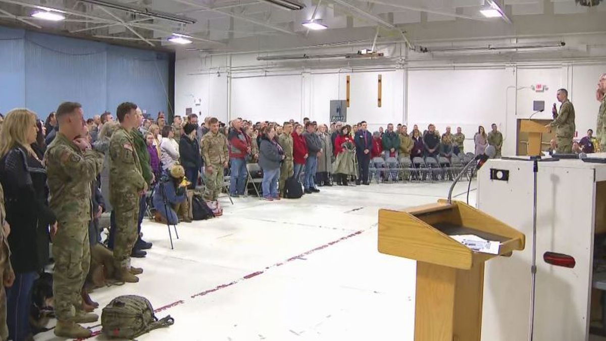 Family and friends reunite with Wisconsin National Guard soldiers at Volk Field on Friday (Source: WLUK)