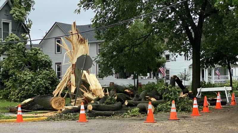 Severe weather on July 15, 2021, damaged this home in Baraboo, Wisconsin.