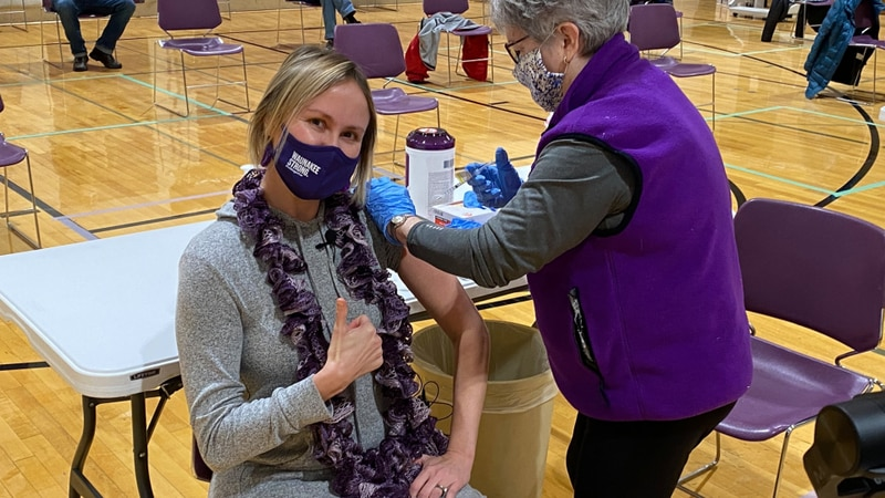 Mary Keenan receives the COVID-19 vaccine on March 2, 2021. The Spanish world language teacher...