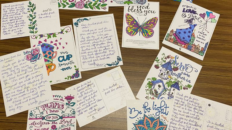 A small sample of the more than 40 notes sent to frontline workers at Bellin Hospital by a...