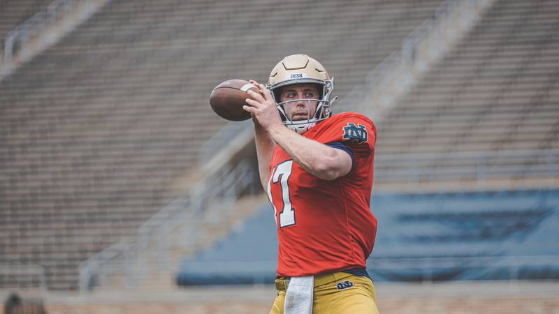 Jack Coan participates in a spring practice for Notre Dame Football.