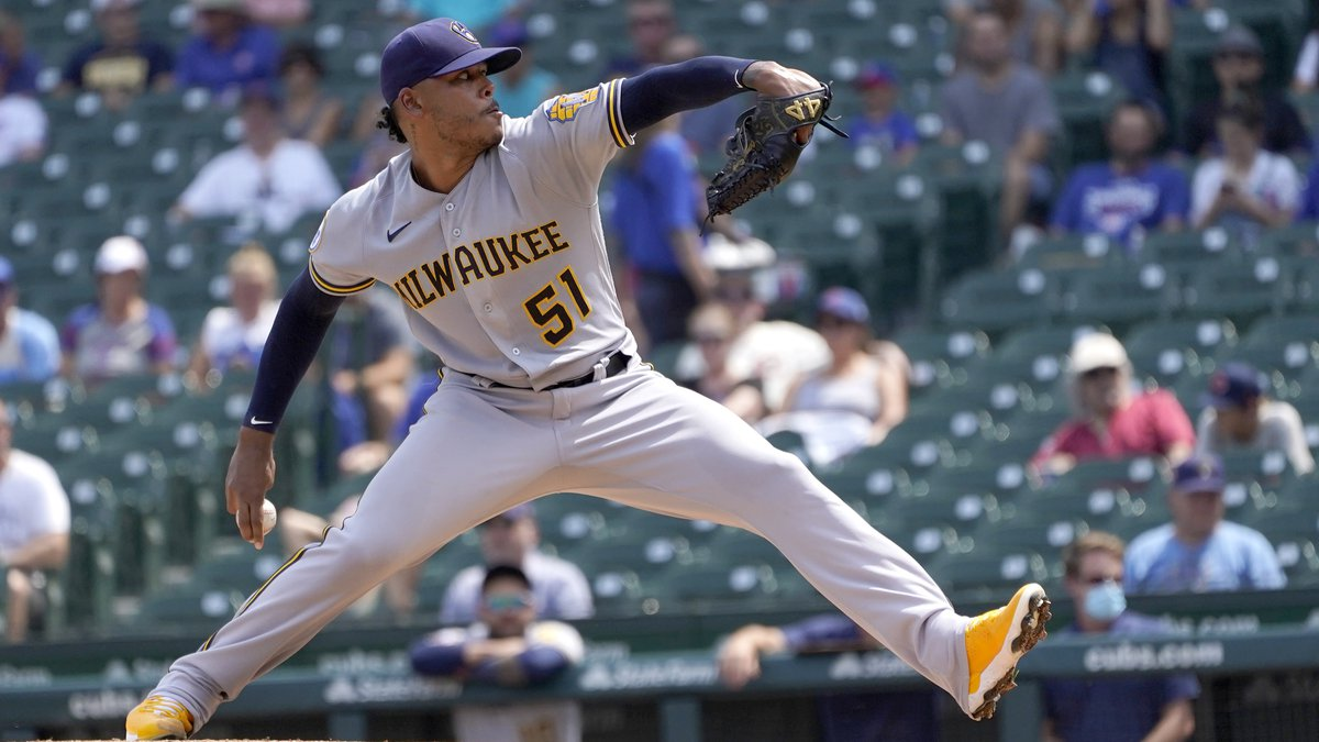 Milwaukee Brewers starting pitcher Freddy Peralta delivers during the first inning of a...