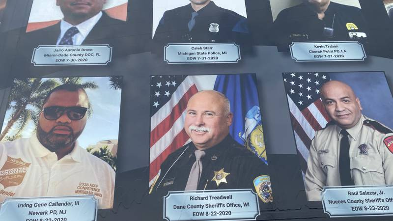 """Deputy Rick Treadwell's image is added to the side of a traveling memorial by """"Beyond the Call..."""