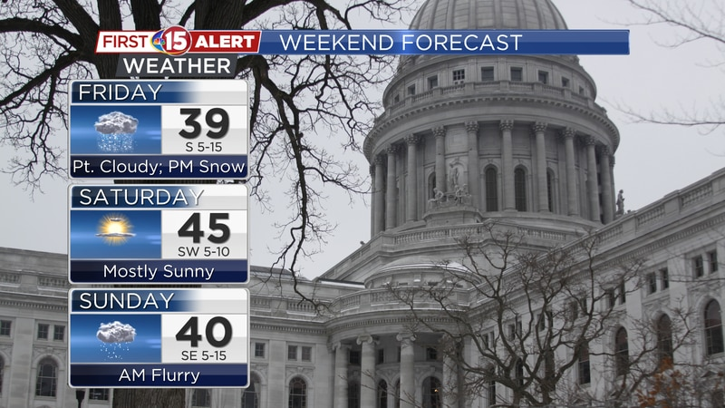 Highs remain above-average this weekend. A brief snowfall late Friday may bring a light...
