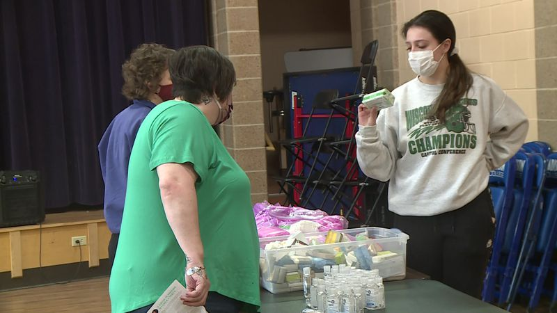 Several organizations partnered to give out toiletries, cleaning supplies and hygiene products.